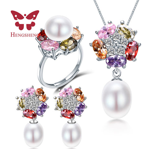 HENGSHENG Pearl Bridal Jewelry Sets, Flower White, Pink, Purple Natural Freshwater Pearl Jewelry Sets For Wife Gift With Box
