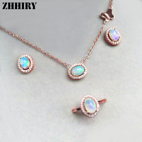 Natural Opal Women Jewelry Sets Ring Necklace Pendant Earrings 925 Sterling Silver
