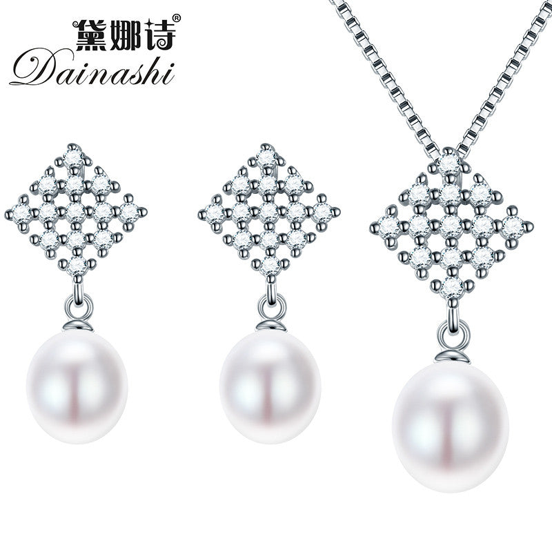 Dainashi Nice Freshwater Pearl Jewelry Sets 925 Sterling Silver