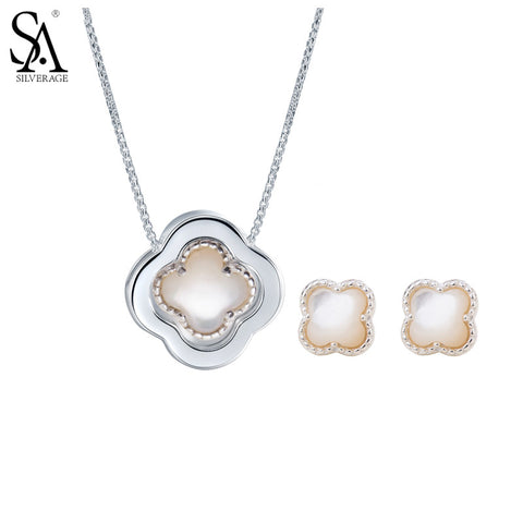 SA SILVERAGE 925 Sterling Silver Jewelry Sets Pendant Necklaces Stud Earrings Fine Jewelry for Women Four Leaf Clover 2016 11.11