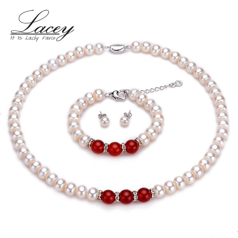 Classic real wedding pearl jewelry sets women,9-10mm natural white