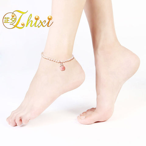 zhixi brand pearl jewelry ,100% natural freshwater pearl  anklets/bracelet,best birthday best gift  J100