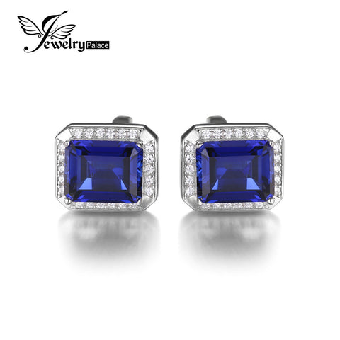 Jewelrypalace Men Luxury 8.6ct Created Blue Sapphire Wedding Cufflinks 925 Sterling Sliver 2016 New Fine Jewelry For Men