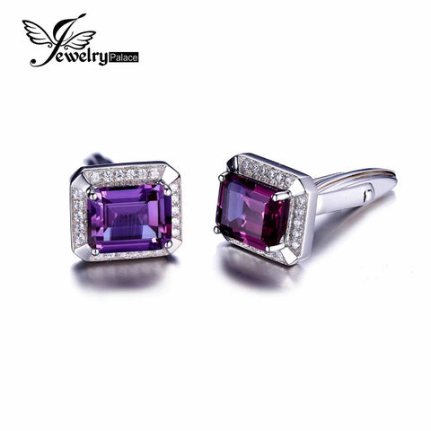 Jewelrypalace Men Luxury 8.6ct Created Alexandrite Sapphire Cufflinks 925 Sterling Silver 2016 New Fine Jewelry For Men Fashion