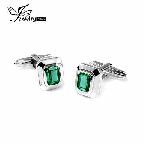 JewelryPalace 4ct Created Nano Russian Emerald Cufflinks Pure 925 Sterling Sliver Luxury Brand Cufflinks For Men Vintage Jewelry