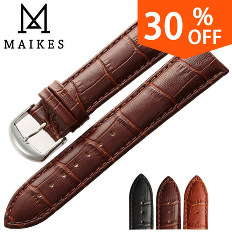 MAIKES New Soft Durable Watch Accessories Watches Bracelet Belt Genuine Leather Band Watch Strap 16 18 20 22 24 mm Watchbands