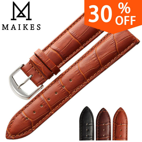 MAIKES HQ watchbands genuine leather strap watch accessories 16mm 18mm 20mm 22mm 24mm men & women brown Watch Band For Casio