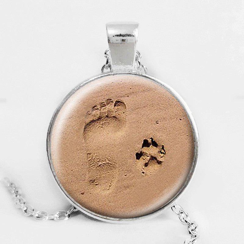 Dog Lover Necklace Dog Paw Pendant Paw Print Jewelry Paw and Footprint