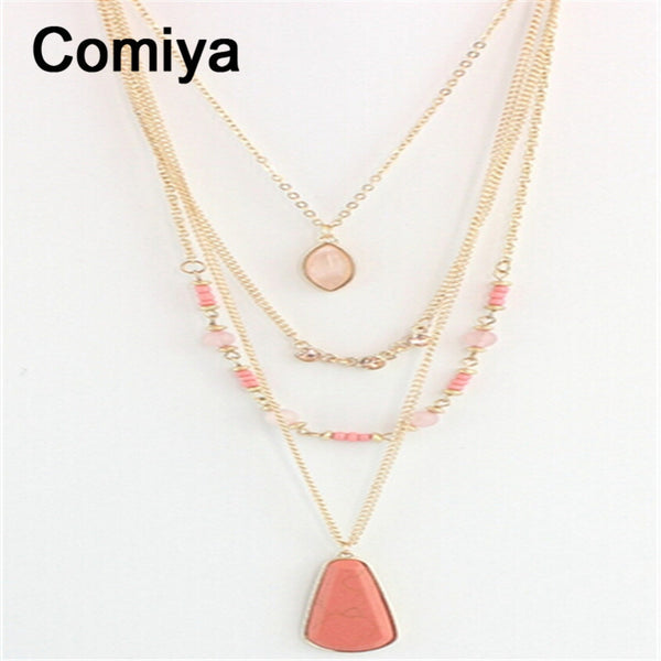 Comiya collares populares fashion multilayer imitation stones pendants