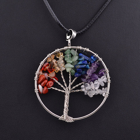 Collares Life Tree Quartz Chips Pendant Women Rainbow 7 Chakra Amethyst Crystals Multicolor For Wisdom Natural Stone Necklace