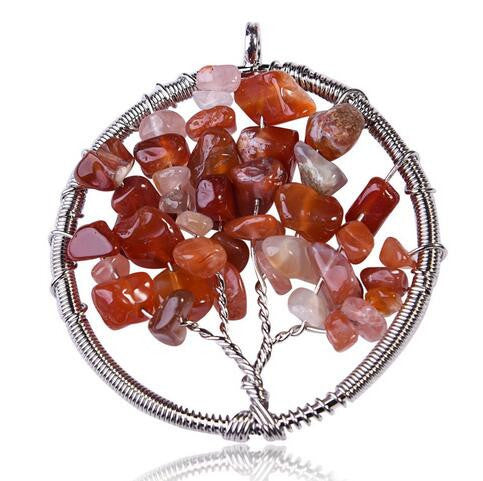 Collares Life Tree Quartz Chips Pendant Women Rainbow 7 Chakra