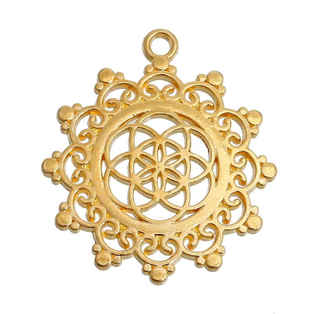 DoreenBeads Alloy Seed Of Life Pendants Flower Gold Plated/Silver tone