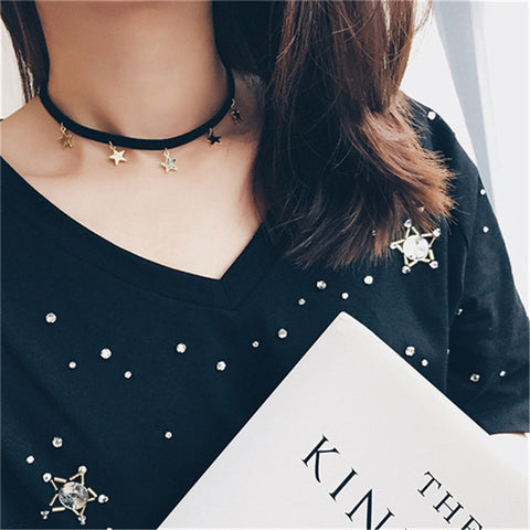 Harajuku Five-pointed Star Choker Necklaces & Pendants Women Black Leather Choker Chocker 2017 New collier femme collares mujer