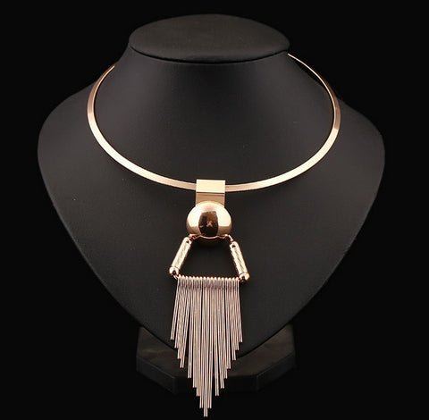 Europe Hyperbole Hoop Chocker Necklace Silver Gold Tassel Metal Statement Torques For Women Neck Accessories Jewelry Collier
