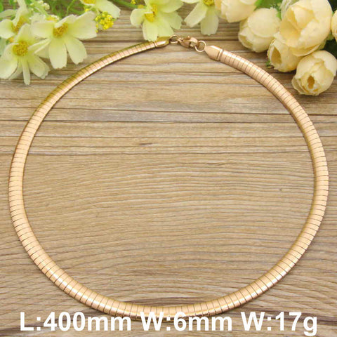 HOT Accessories Wholesale Stainless Steel Jewelry Fashion Romantic Plated rose gold color Torques Necklaces for women NBJDBUJP