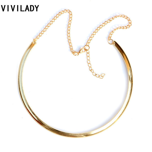 VIVILADY Gold Plated Torques Necklace Women African Costume Collar