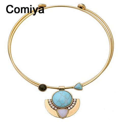 Comiya wholesale fashion jewelry bijouterie china pendientes gold color zinc alloy imitation stones open torques cute necklaces