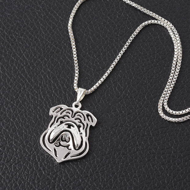 Little French Bulldog Necklace Hollow Cute Cartoon Dog Necklace for