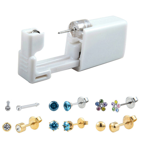 Disposable Safe Sterile Ear Stud Piercing Gun Piercer Tool Machine Kit Earring Piercing Jewelry