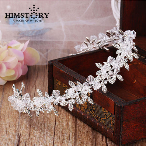 Handmade Sparkling Clear Crystal Wedding Hairband ,Bride Headdress Hair Accessories Hairwear