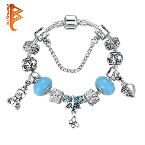 European Authentic BEADS jewelry 925 Antique Silver bracelet with horse/star/flower crystal charm bracelets & bangles for women