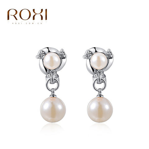 ROXI  High Quality Double Pearls Dangle Clip Earrings Fashion