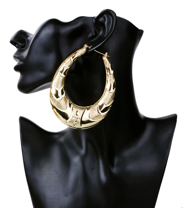 Gold Plated Large Big Metal Circle Bamboo Hoop Earrings for Women
