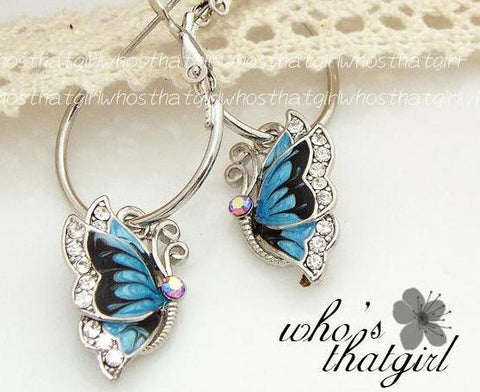 ER563  Girls fashion blue butterfly pendant earrings ladies exquisite wild crystal hoop earrings for women