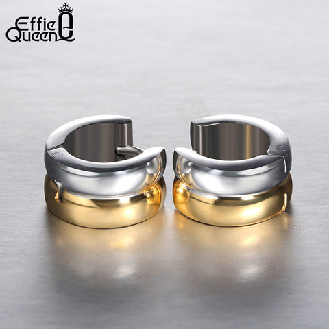 Effie Queen Fashion Brand Gold Silver Plated Stainless Steel Earrings Punk Gothic Hoop Earrings For Men Women IE08