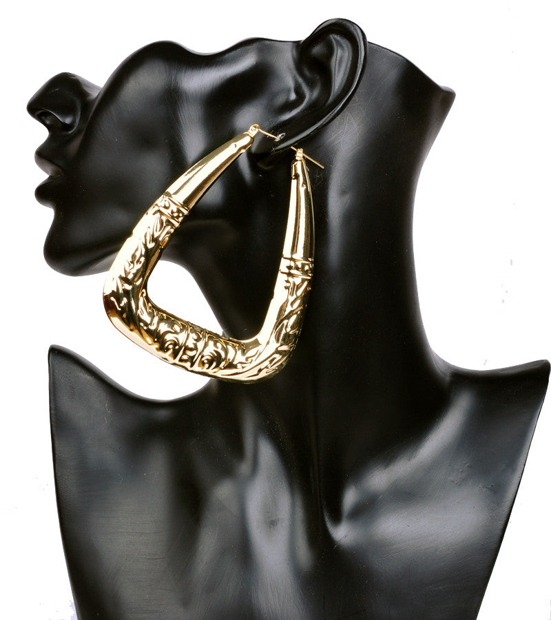 Exaggerated Big Triangle Hoop Earrings for Womens Retro Punk Bamboo