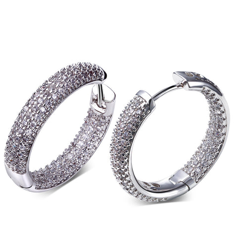 DC1989 High quality Fashion Hoop Earrings for Women Rhodium Plated Synthetic Cubic Zirconia  Lead Free Nickel Free