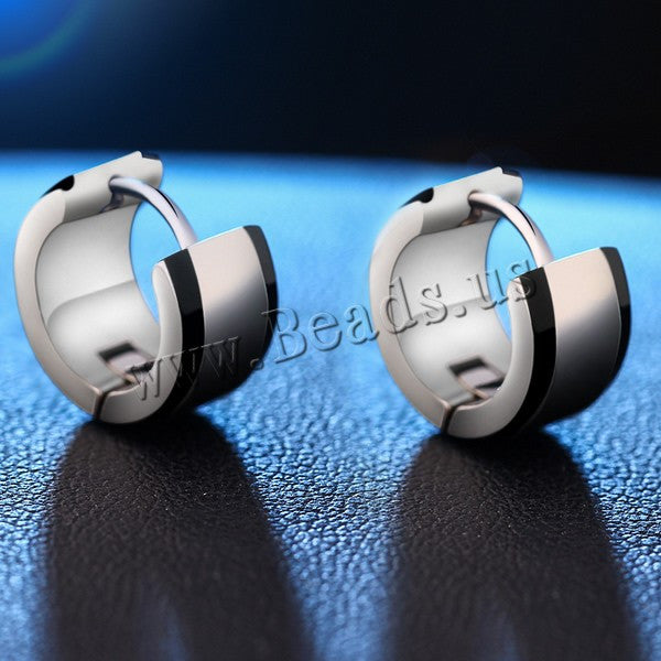Cool Men Stainless Steel Round Huggie Hoop Earrings Small Circle