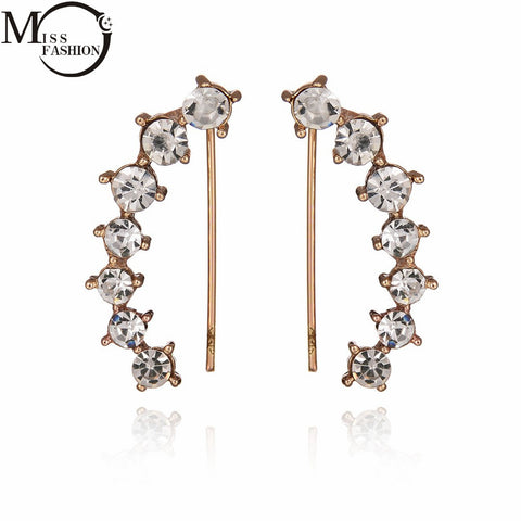 Summer Fashion Jewelry AAA CZ Diamond Clip Earrings Simple Gold Plated