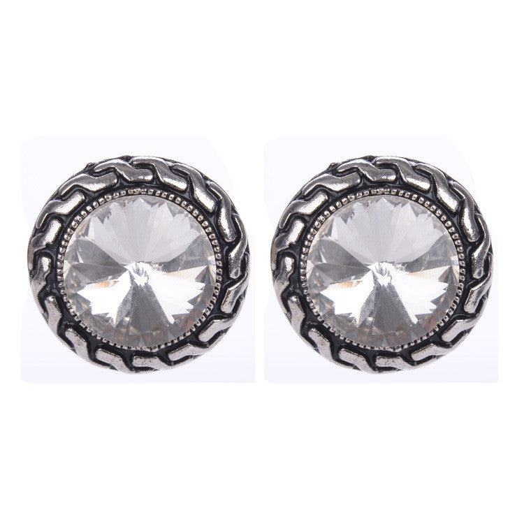 Crystal Clip Earrings For Women Fashion Clear Blue Pink Color