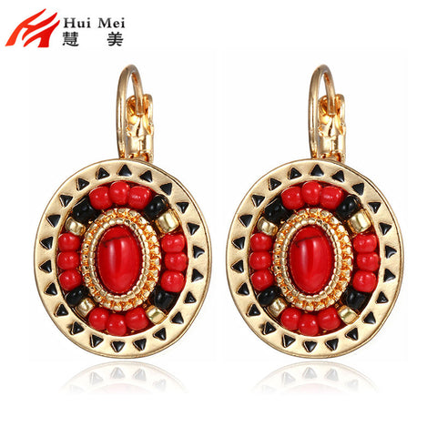 New Fashion Ethnic Clip Earrings Women Gold Plated Red Black Resin
