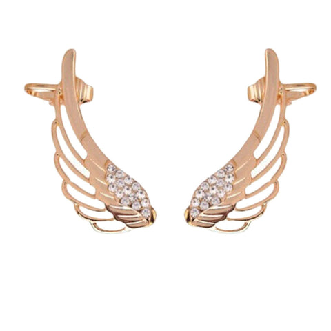 Pendientes New Fashion Punk Rhinestone Clip Earrings For Women Angel