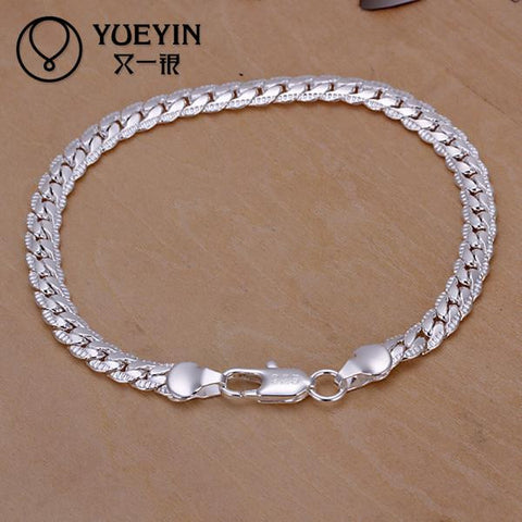 Charm Bracelets Link Chain silver plated bracelet for women men unisex jewelry hand chain H199  Vintage for Gift
