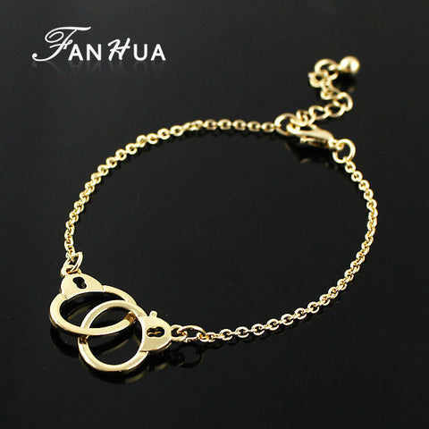FANHUA Kpop Wholesale Punk Rock Gold Chain Bracelets Cute Silver Handcuff Bracelets For Women