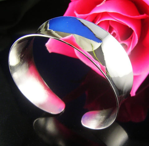 Free Shipping 1PC silver Fashion Shiny Smooth wide Cuff Bracelet Bangle