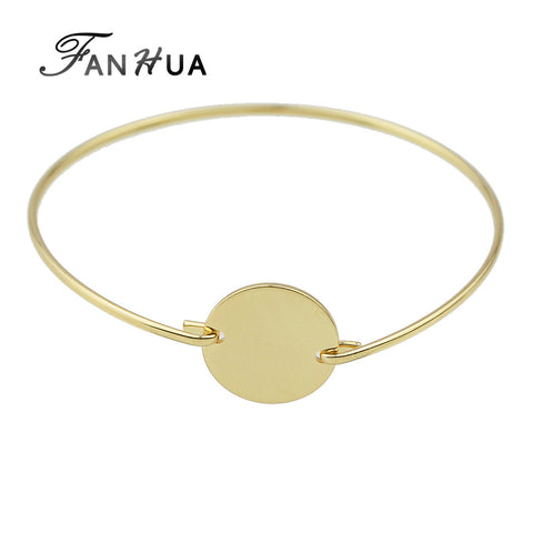 FANHUA Gold Silver Color Concise Bracelets and Bangles Punk Rock Style Minimalist Metal Cuff Bracelet Pulseras Mujer For Women