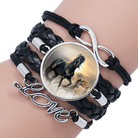 Fashion White Horse Love Female Leather Infinity Wrap Bracelet Bangle For Women Handmade Glass Cabochon Horse Jewelry Best Gift