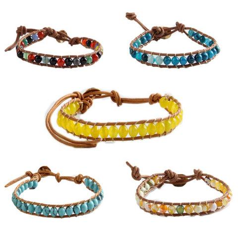 Multicolor 6mm Beads Strand Bracelet Leather Wrapped Bracelets Men/Woman Single Hand Jewelry