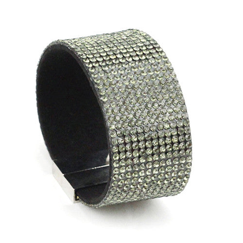 Crystal bracelet for women big wide pulseras mujer rhinestone