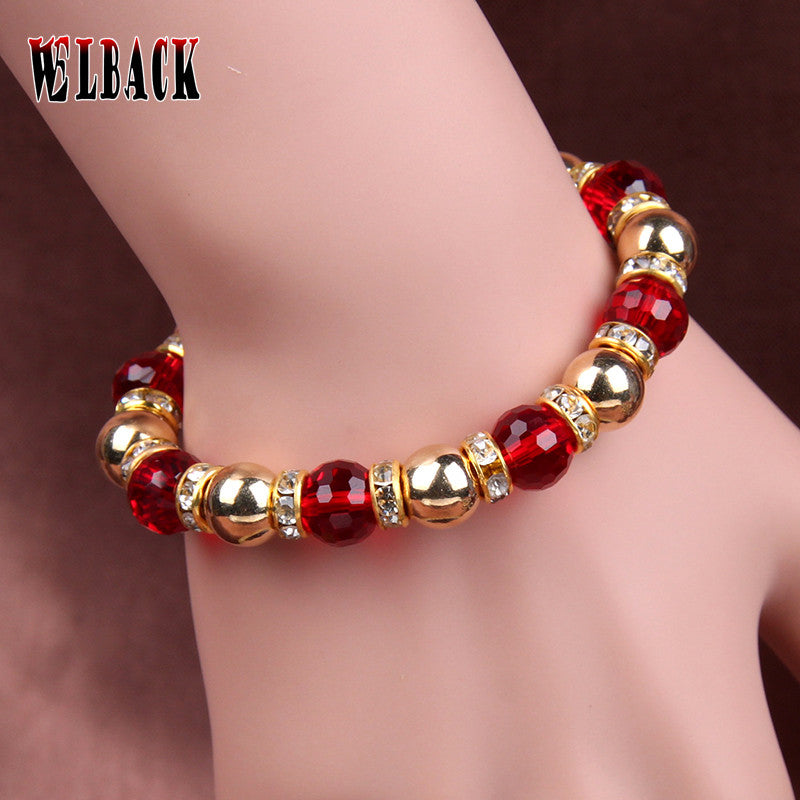 NEW ARRIVAL Metallic  Crystal  Rhinestone bead strand Bracelet  for