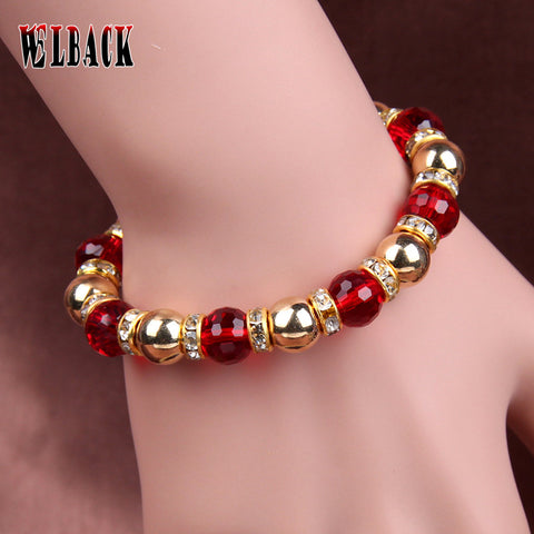 NEW ARRIVAL Metallic  Crystal  Rhinestone bead strand Bracelet  for Women  elegant colorful  fashion jewelry