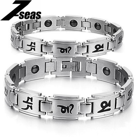 Fashion stainless steel magnetic bracelets Buddhism words engraving bangle for lover couple 3141