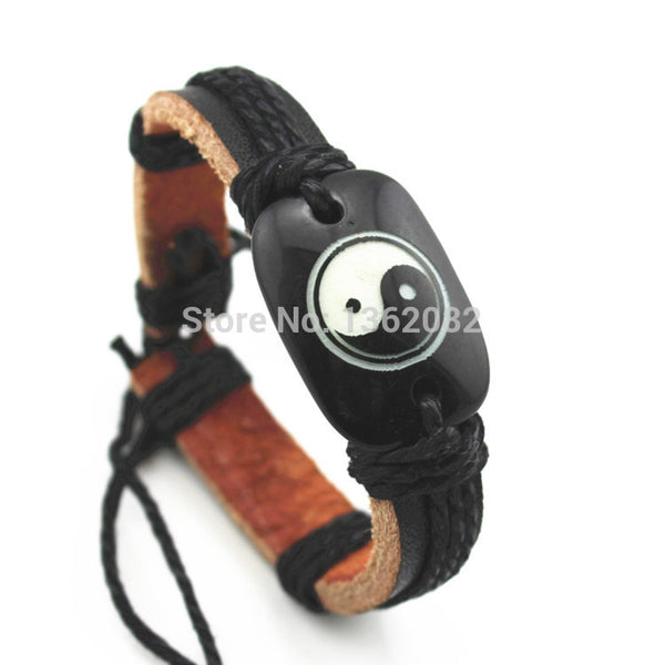 Cool Taoist Tai Chi Yin and Yang Bracelets Resin Carved Leather Surfer