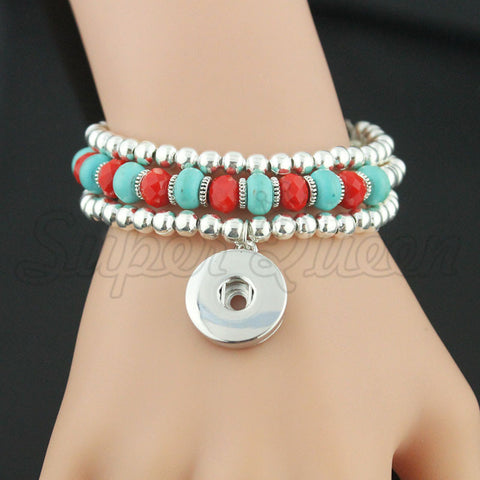 Christmas bell gift 12/18mm snap button Multilayer Bracelet&Bangles B328 Women's silver charm bracelet Unisex DIY jewelry