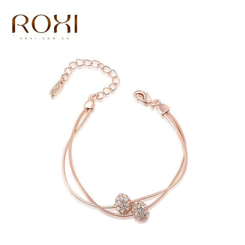 ROXI Brand Charm Bracelets & Bangles Rose Gold Plated Women Elegant Fashion Crystal Beads Wedding Party Jewelry NEW