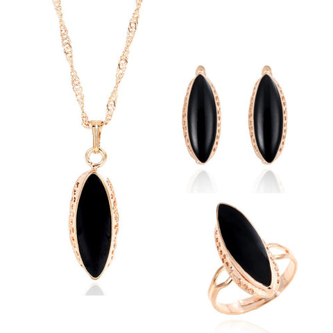 Classic AAA Black Crystal Oval Earrings Necklace Ring Golden Plated Jewelry Set Cheap Price 3pcs/set